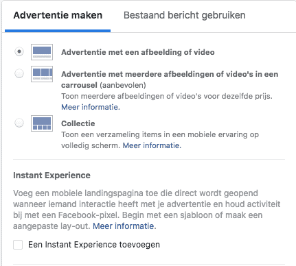 Facebook advertentie mogelijkheden