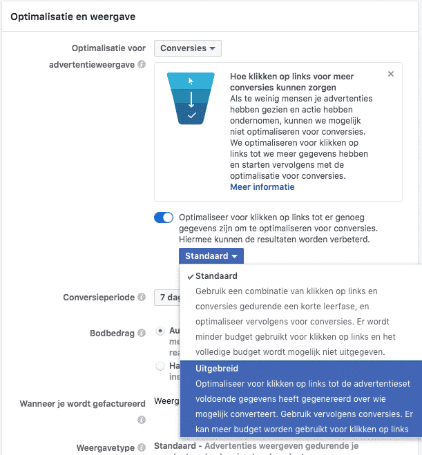 Facebook conversie optimalisatie doelstelling adverteren