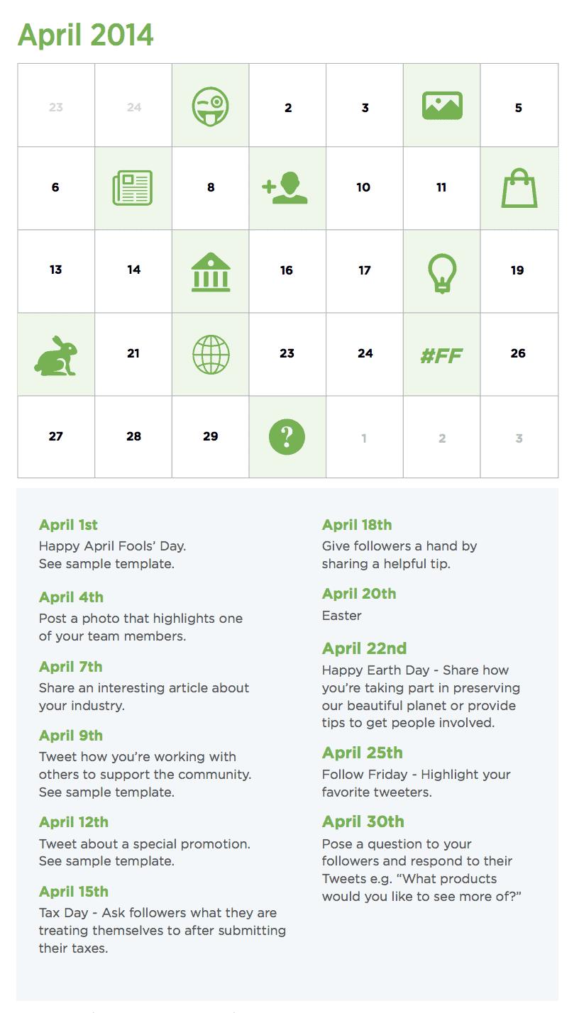Content marketing kalender voorbeeld