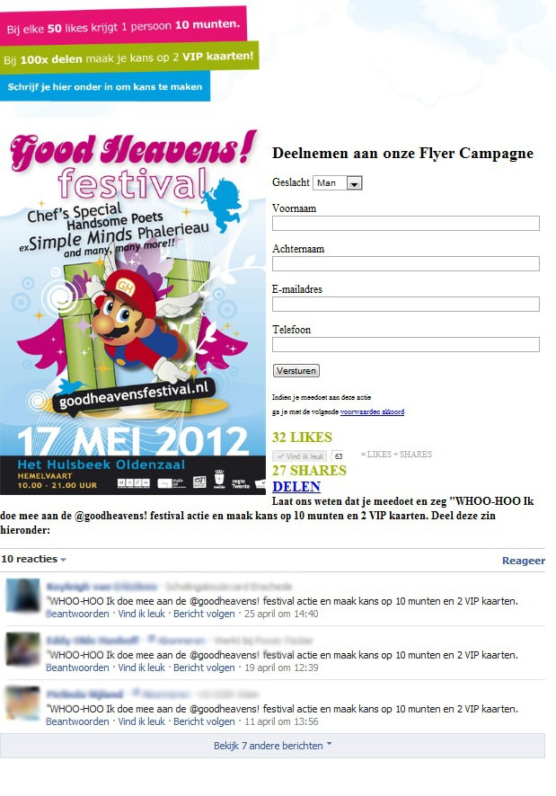Good Heavens Festival Facebook campagne
